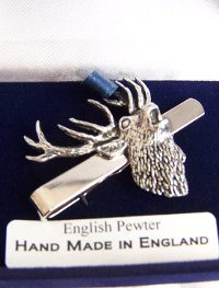 Fine English Pewter Tie Clip Roaring Stags Head