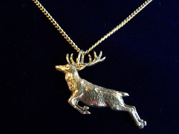 Fine English Pewter Necklace Springing Stag