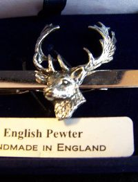 Fine English Pewter Tie clip fallow bucks Head