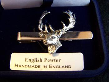 Fine English Pewter Tie clip fallow bucks Head