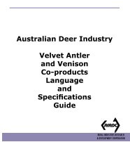 Velvet Antler Venison Co-Products Language Specifications Guide
