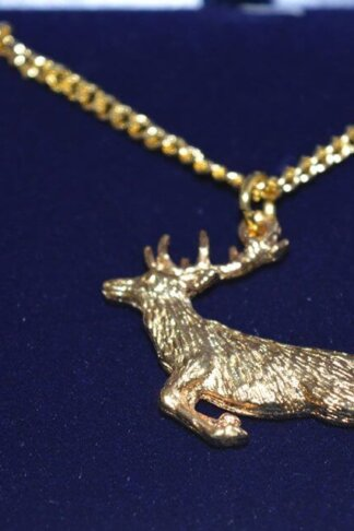 fine english pewter gold plated spring stag pendant