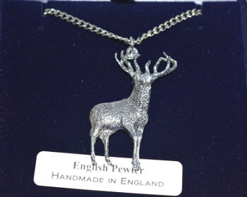 fine english pewter stag lovers pendant